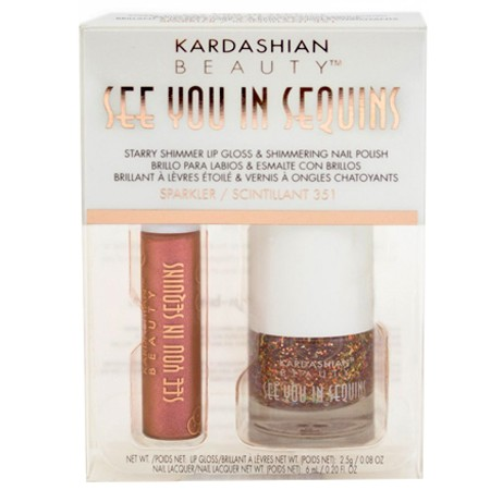 """Kardashian Beauty """"See You In Sequins"""" Shimmer Lip Gloss and Nail Polish Sparkler 351"""