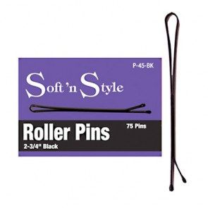 """Burmax Soft N' Style Roller Pins 2-3/4"""" -Black - Ball Pointed- 75 Pins"""